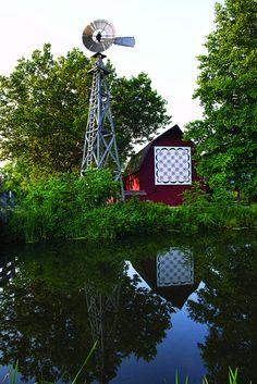 Barn and Windmill at Bonneyville Mill an Elkhart County Park near Bristol Indiana.