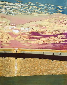 #Late August Sunset #batik by #terri Haugen. This batik is of the #Frankfort Pier at #Sunset