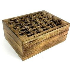 Handcrafted Carved Mango Wood Open Box Handmade and Fair Trade. Perfect for filling with potpourri, this box carved from mango wood by Indian artisans has an open pattern on the top. With a hinged lid, the box is 5.75 wide by 7.75 inches long and 3 inches tall.