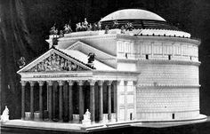 As it would have appeared in Roman times: The Pantheon, Rome, reconstruction by Hadrian, Building inscribed: M·AGRIPPA·L·F·COS·TERTIUM·FECIT, means: Marcus Agrippa, son of Lucius, consul for the third time, built this.  Built 27-25 B.C. rectangular form under consulship of Marcus Agrippa. Destroyed c. 80, reconstructed in round form.  Truly incredible architectural feat for its time.