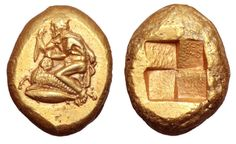 This electrum stater was struck in the city of Kyzikos, Mysia circa 450-400 BC (map). It shows a male figure wearing a pilos and a chlamys. He's kneeling while in the act sacrificing a ram. A tunny fish is below him and a quadripartite incuse square is on the reverse.  The identity of the figure on the obverse of this coin has been widely debated. It has been suggested that it could be Phrixos, in the act of sacrificing the ram with the golden fleece. However, on the basis of the pilos…