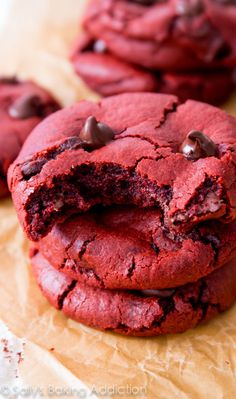 Sally's Baking Addiction Soft-baked Red Velvet Chocolate Chip Cookies. Made from scratch!