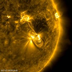 Image of sun's surface with solar flare visible