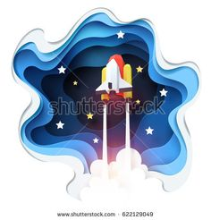 Abstract of spaceship launch to space, paper art concept and exploration idea, vector art and illustration.