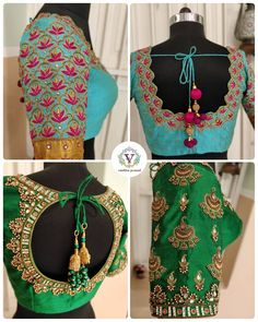 Vanitha all time emotion at work. Do you feel the same about them? Beautiful ice blue color designer blouse with lotud flower design hand embroidery work. Lovely green color designer blouse with chaandbali design hand embroidery kundan work. Wedding Saree Blouse Designs, Pattu Saree Blouse Designs, Fancy Blouse Designs, Stylish Blouse Design, Hand Work Blouse Design, Maggam Work Designs, Designer Blouse Patterns, Sarees, Green Blouse