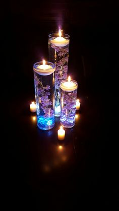 Trio Vase With Blue Delphinium With Our Floating Candles