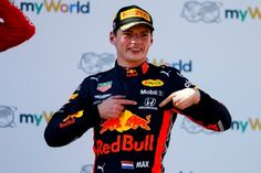 Max Verstappen, Red Bull Racing, position, celebrates on the podium. Photo by Glenn Dunbar / Motorsport Images on June 2019 at Austrian GP. Browse through our high-res professional motorsports photography Driver Of The Day, Ny Red Bulls, Series Formula, Honda Cars, Red Bull Racing, Grand Prix, Ferrari, Celebrities, Aston Martin