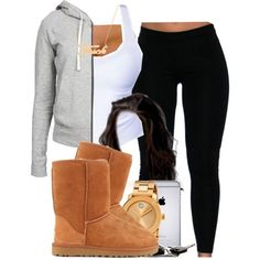 Cute outfits for teens. Ugg boots, black Ugg boots match with a cute cross patterned scarf. I personally love how to boots and bracelets go so well together with the scarf (: Lazy Outfits, Cute Swag Outfits, Teenage Outfits, Teen Fashion Outfits, Dope Outfits, Everyday Outfits, Outfits For Teens, Trendy Outfits, Winter Outfits