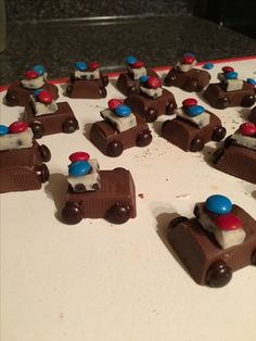 Candy police cars for cupcake toppers.