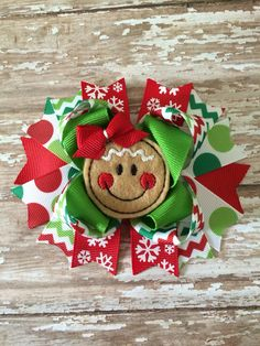 Christmas hair bow. Ginger bread girl hair by TheJMarieBoutique, $9.99