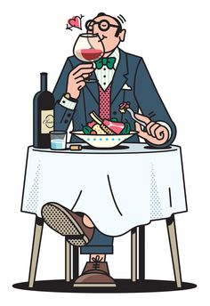 Illustration of an epicure — a guy with good taste when it comes to food and wine. CS Bulletin by Rami Niemi. (Illustrator to the Stars! People Illustration, Line Illustration, Landscape Illustration, Character Illustration, Character Sketches, Magazine Images, Affinity Designer, In Vino Veritas, Illustrations And Posters