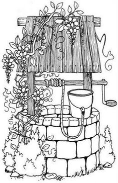 Wishing Well Embroidery Pattern. Coloring Book Pages, Coloring Sheets, Garden Coloring Pages, Wishing Well, Digital Stamps, Printable Coloring, Colorful Pictures, Colorful Drawings, Pyrography
