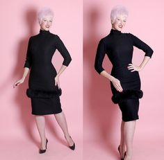 DESIGNER 1950's Inky Black Wool Jersey Extreme by butchwaxvintage