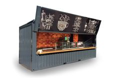 Seecontainer Cafe Shop Design, Small Cafe Design, Kiosk Design, Container Home Designs, Shipping Container Restaurant, Shipping Container Homes, Food Stall Design, Container Coffee Shop, Small Coffee Shop