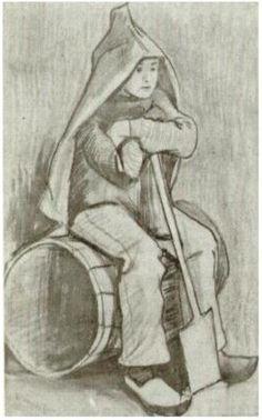 Vincent van Gogh Boy with Spade Drawing