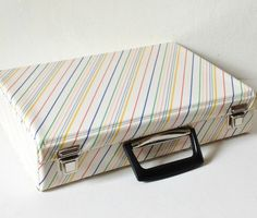 Vintage 1980s gloss white striped cassette storage case