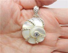 Judith Ripka Sterling Silver Mother of Pearl Seashell Pendant ...