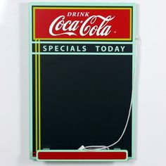 Coca-Cola Wood Chalkboard Painted Wood Hooks on Back for Easy Hanging Eraser Attached to String Includes Chalk Measures: x x inches Coke Ad, Pepsi, Coca Cola Addiction, Coca Cola Kitchen, Always Coca Cola, Specials Today, Diet Coke, Coco, Drinks