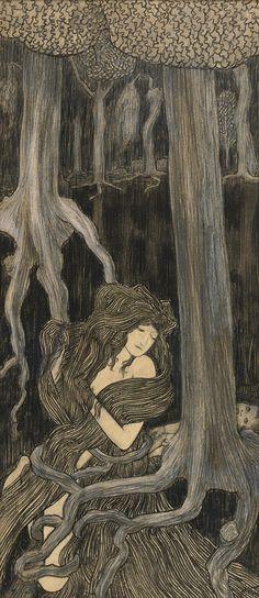 Schiele met Jan Toorop through his friendship with Klimt - 'Shakuntala' by Jan Toorop (Dutch 1858 - Gustav Klimt, Art And Illustration, Art Nouveau, Henri Fantin Latour, Modernisme, Dutch Painters, Pre Raphaelite, Alphonse Mucha, Dutch Artists