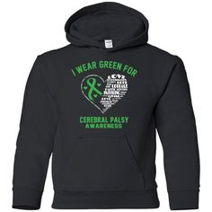 Youth Pullover Hoodie - I Wear Green For Cerebral Palsy