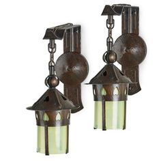 Pair of heart cut-out sconces after Gustav Stickley, Oswego, NY