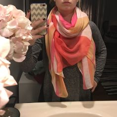 Gorgeous striped scarf! Thin material. No holes. Great shape! White peach pink and coral! Accessories Scarves & Wraps