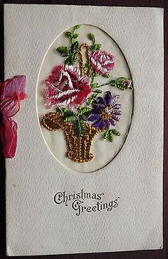 Ww1 embroidered silk post#card. christmas #greeting #card. basket of #flowers. ,  View more on the LINK: http://www.zeppy.io/product/gb/2/252391803071/