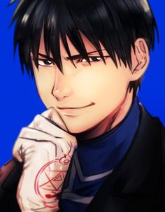 black eyes black hair blue background coat fullmetal alchemist gloves hand on own chin looking at viewer male focus military military uniform roy mustang short hair simple background smile uniform - Image View - Fullmetal Alchemist Mustang, Fullmetal Alchemist Alphonse, Alphonse Elric, Fullmetal Alchemist Brotherhood, Full Metal Alchemist, Edward Elric, Me Me Me Anime, Anime Love, Anime Guys