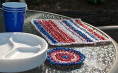 Plarn Placemats and Coasters Crochet Pattern. Do you need Plarn, visit Keep On Givin's @Storenvy shop http://bit.ly/KajitW