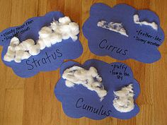 Learn about the Cumulus, Cirrus, and Stratus clouds Weather Crafts, Weather Activities, Teaching Activities, Teaching Science, Science For Kids, Classroom Activities, Earth Science, Science Fun, Science Ideas