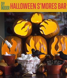 Indoor Halloween S'mores Bar | Here's an awesome idea for Halloween your guests will surely love. #DIYReady DIYReady.com