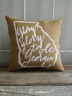 Burlap Pillow Glory Glory to Ole Georgia UGA by TwoPeachesDesign