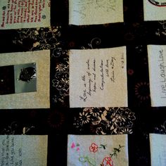 easy wedding quilt... add in some of gma's hand embroidery and guest signatures and old pictures...