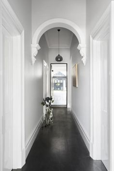 hallway decorating 445715694365960002 - Haymes Gemmola LR Source by Entrance Ways, House Entrance, Edwardian House, Victorian Homes, Painted Wooden Floors, Wooden Flooring, Hallway Paint, Tiled Hallway, Dark Hallway