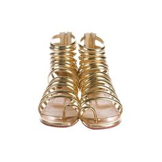 Pre-owned Christian Louboutin Catchetta Metallic Sandals ($495) ❤ liked on Polyvore featuring shoes, sandals, leather shoes, cutout shoes, cut out shoes, zipper shoes and zipper sandals