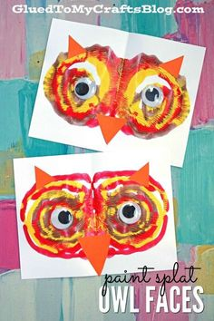 Paint Splat Owl Face – Kid Craft Tulip Puffy Paint and Paper Art Project For Kids Our Paint Splat Owl Face idea is simply HOOT-TASTIC in the craft department! All you need is a little puffy paint, some paper and some creativity! Fall Arts And Crafts, Fall Crafts For Kids, Toddler Crafts, Art For Kids, Fall Crafts For Preschoolers, Autumn Art Ideas For Kids, Winter Craft, Kid Art, Thanksgiving Crafts