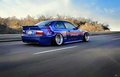 BMW E36 M3 blue deep dish widebody slammed