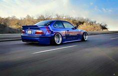 BMW E36 M3 blue deep dish widebody slammed