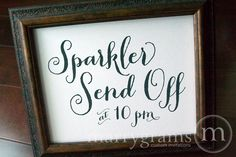 Wedding Sparkler Send Off Sign - Sparklers Table Card Sign - Wedding Reception Seating Signage - Matching Numbers Available SS02