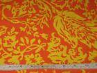 Vintage Mid Century Retro Orange Yellow Floral Cotton Terrycloth Fabric 8 Yards - #cotton, #floral, #yellow, Century, fabric, Orange, Retro, terrycloth, vintage, yards