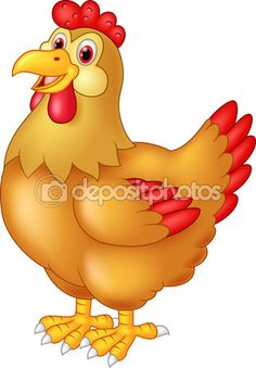 Chicken hen cute posing vector image on Cute Disney Drawings, Art Drawings For Kids, Drawing For Kids, Cartoon Rooster, Duck Cartoon, Cartoon Kunst, Cartoon Art, Farm Animals, Cute Animals