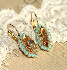 Classic 14k Gold Plated Stud Earrings With Turquoise #Stud