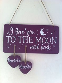 Sale 1-3 names personalised I love you to the moon and back sign, personalized sign perfect present