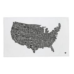 American Food Map Tea Towel