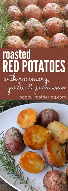 Looking for the best roasted red potatoes recipe? Our delicious Crispy Rosemary Garlic Parmesan Roasted Red Potatoes Recipe is easy to make in the oven. #roastedpotatoes #potatoes #potatorecipes #redpotatoes #sidedishes