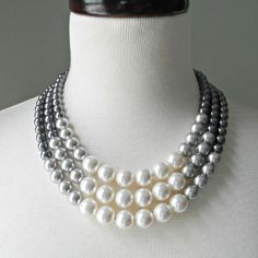 Color Block Triple Decker Necklace - in Gray - 3 Strand Colored Pearl Necklace.
