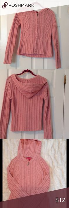 Pink Cable Knit Hoodie Sweater Pink cable knit hoodie sweater with zipper. Very pretty pink. Good condition. Warm. SO real so right brand. Sweaters Cardigans