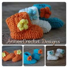 Crochet Puff Flower and baby booties || http://www.annoocrochet.com/2013/02/spring-flower-baby-booties-free-pattern.html?m=1