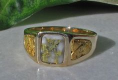 Gold Nugget Ring Gold Veined Quartz Ring Mens 14k Gold