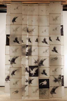 Bird Screen II, Catherine Eaton Skinner, Tibetan Paper/Archival Ink/Encaustic/Thread/Bamboo I like the materials, not the birds Instalation Art, Encaustic Art, Art Plastique, Bird Art, Oeuvre D'art, Textile Art, Fiber Art, Sculpture Art, Illustration
